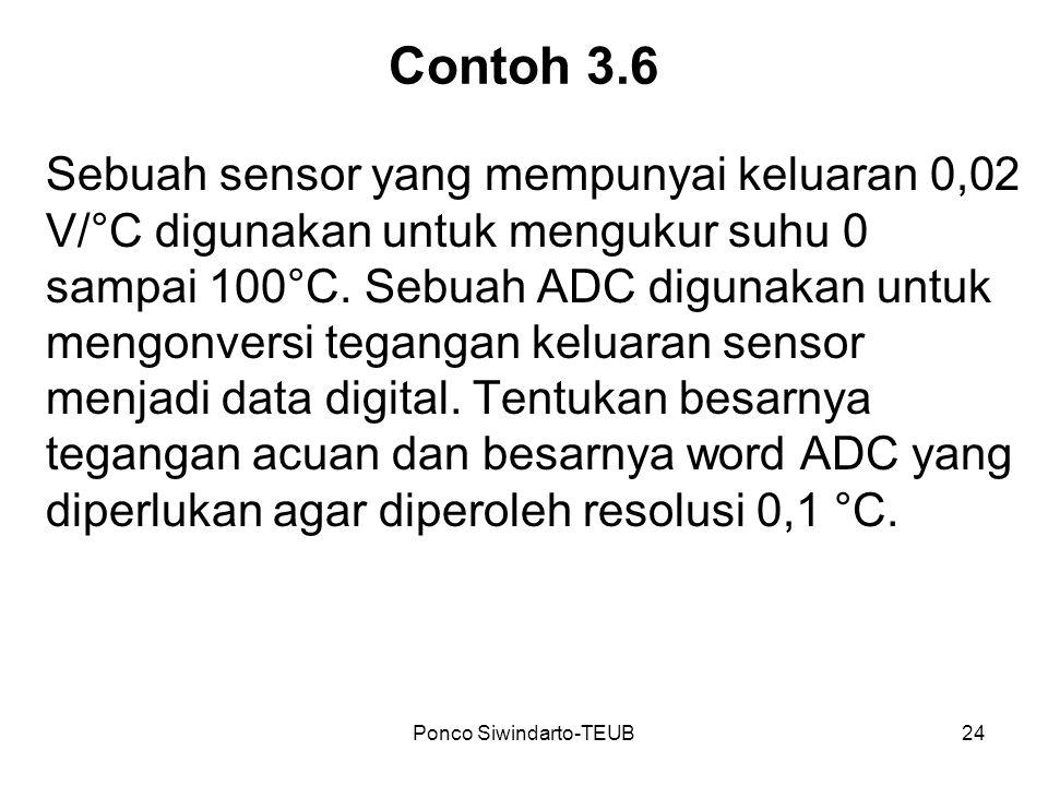 Ponco Siwindarto-TEUB24 Contoh 3.6 Sebuah sensor yang mempunyai keluaran 0,02 V/°C digunakan untuk mengukur suhu 0 sampai 100°C. Sebuah ADC digunakan