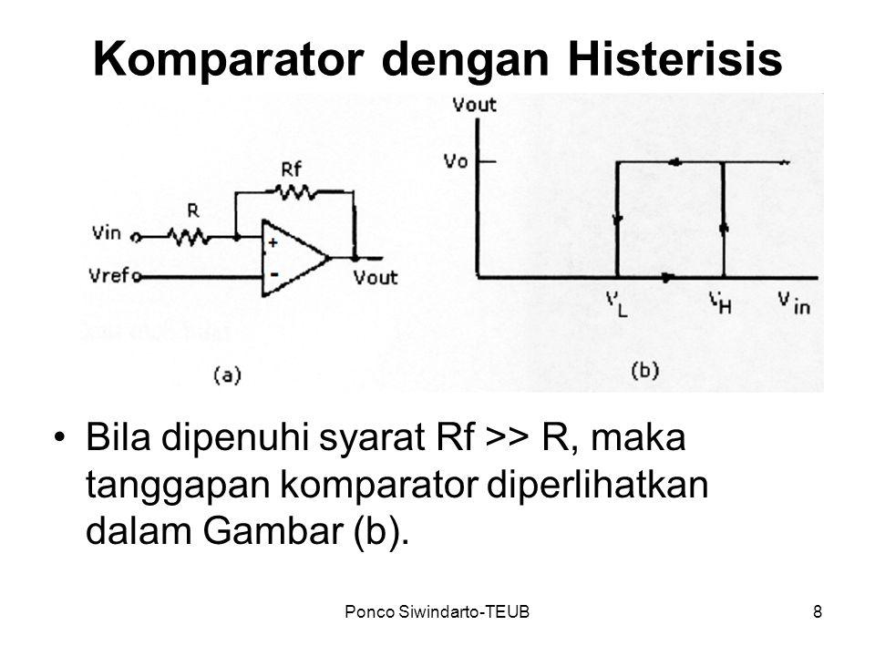 Ponco Siwindarto-TEUB9 Keluaran Vout akan bernilai tinggi bila dan bernilai rendah bila (PR) (pada kondisi ini: V H = V ref ) (pada kondisi ini: V L = V ref – (R/R f )Vo Lebar histerisis H = V H - V L Syarat agar komparator tahan terhadap noise: H > V n(pp)