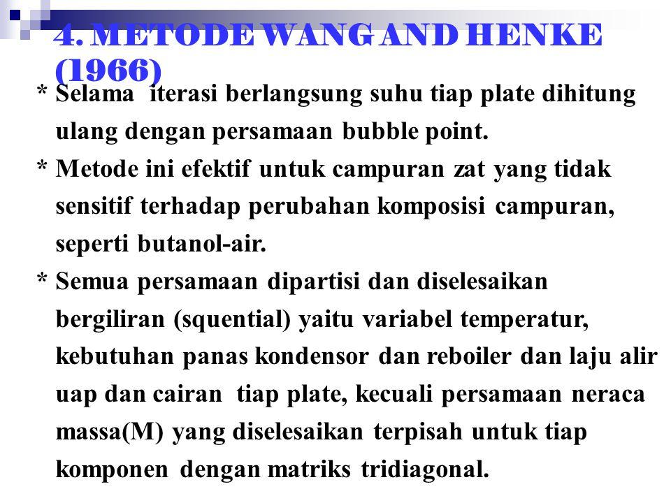 4. METODE WANG AND HENKE (1966) * Selama iterasi berlangsung suhu tiap plate dihitung ulang dengan persamaan bubble point. * Metode ini efektif untuk