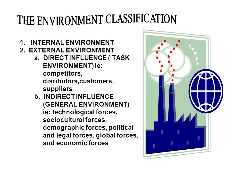 1. INTERNAL ENVIRONMENT 2. EXTERNAL ENVIRONMENT a. DIRECT INFLUENCE ( TASK ENVIRONMENT) ie: competitors, disributors,customers, suppliers b. INDIRECT