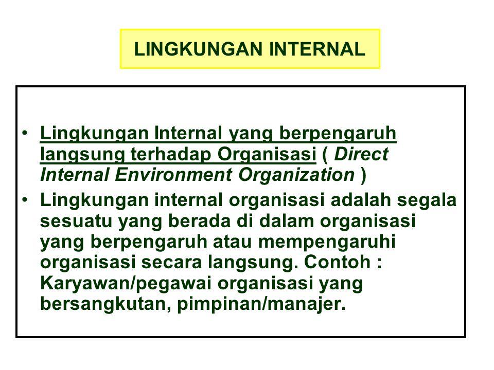 LINGKUNGAN INTERNAL Lingkungan Internal yang berpengaruh langsung terhadap Organisasi ( Direct Internal Environment Organization ) Lingkungan internal