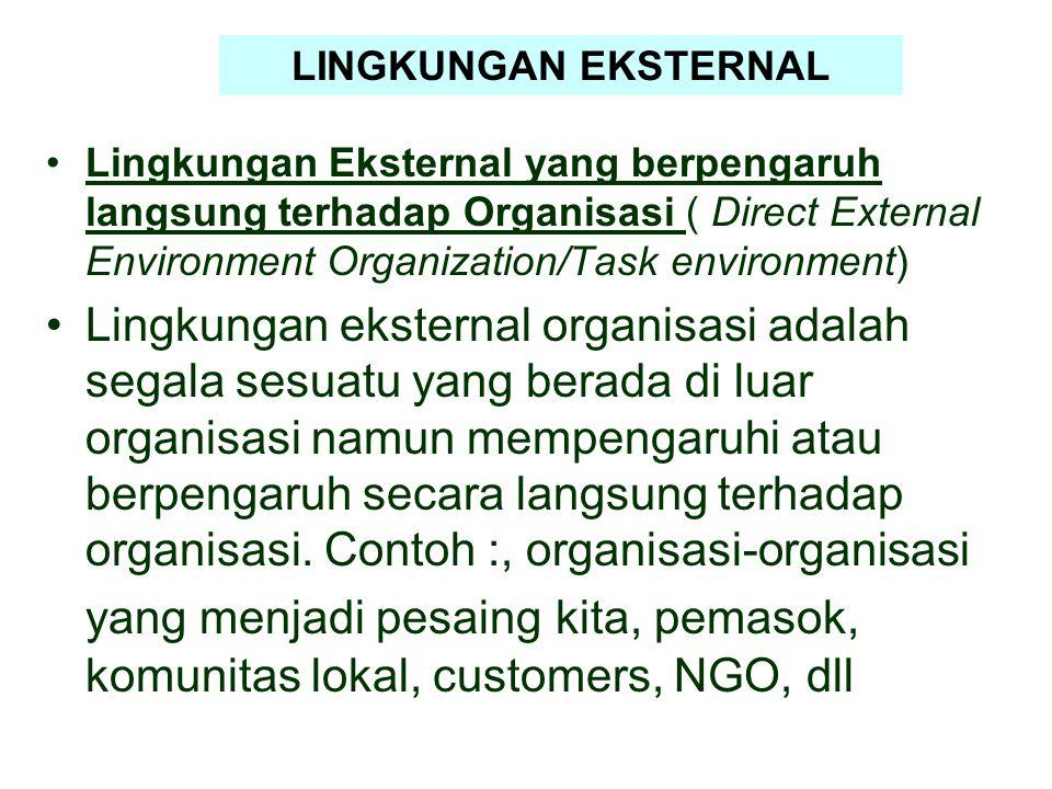 Lingkungan Eksternal yang berpengaruh langsung terhadap Organisasi ( Direct External Environment Organization/Task environment) Lingkungan eksternal o