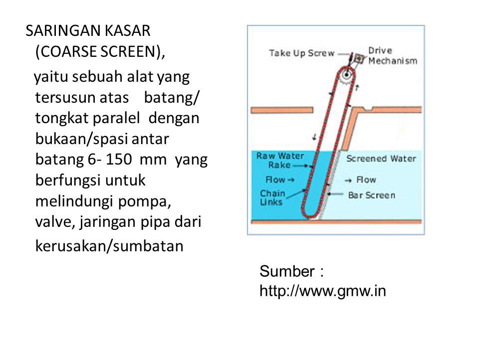 SARINGAN KASAR (COARSE SCREEN), yaitu sebuah alat yang tersusun atas batang/ tongkat paralel dengan bukaan/spasi antar batang 6- 150 mm yang berfungsi