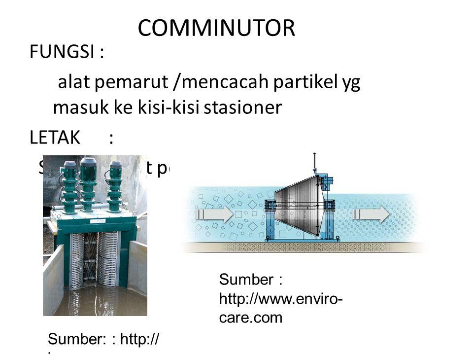 COMMINUTOR FUNGSI : alat pemarut /mencacah partikel yg masuk ke kisi-kisi stasioner LETAK : Sebelum unit pompa & grit chamber Sumber: : http:// jwce.com Sumber : http://www.enviro- care.com