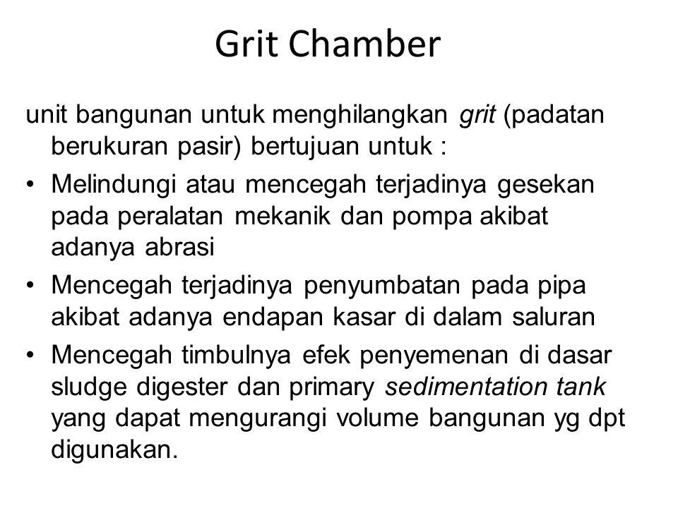 Grit Chamber unit bangunan untuk menghilangkan grit (padatan berukuran pasir) bertujuan untuk : Melindungi atau mencegah terjadinya gesekan pada peral