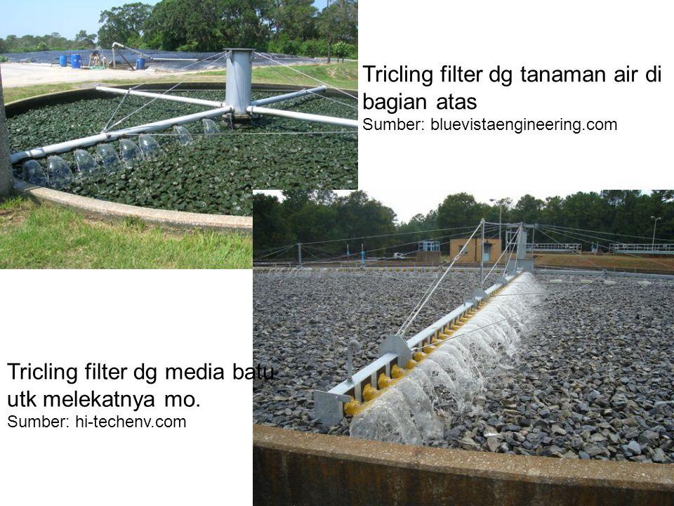 Tricling filter dg tanaman air di bagian atas Sumber: bluevistaengineering.com Tricling filter dg media batu utk melekatnya mo.