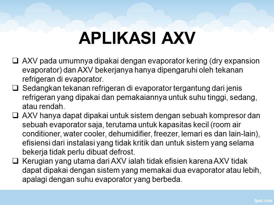 APLIKASI AXV  AXV pada umumnya dipakai dengan evaporator kering (dry expansion evaporator) dan AXV bekerjanya hanya dipengaruhi oleh tekanan refriger