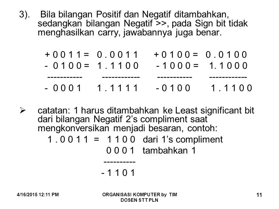 4/16/2015 12:12 PMORGANISASI KOMPUTER by TIM DOSEN STT PLN 11 3). Bila bilangan Positif dan Negatif ditambahkan, sedangkan bilangan Negatif >>, pada S