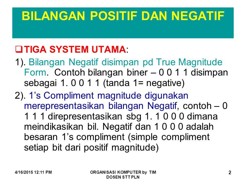 4/16/2015 12:12 PMORGANISASI KOMPUTER by TIM DOSEN STT PLN 2 BILANGAN POSITIF DAN NEGATIF  TIGA SYSTEM UTAMA: 1). Bilangan Negatif disimpan pd True M