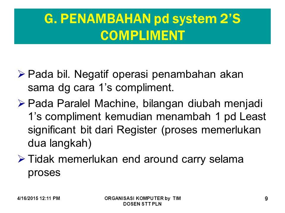 4/16/2015 12:12 PMORGANISASI KOMPUTER by TIM DOSEN STT PLN 9 G. PENAMBAHAN pd system 2'S COMPLIMENT  Pada bil. Negatif operasi penambahan akan sama d