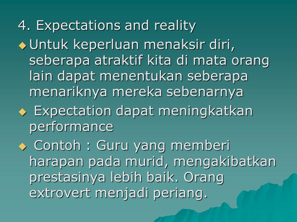 4. Expectations and reality  Untuk keperluan menaksir diri, seberapa atraktif kita di mata orang lain dapat menentukan seberapa menariknya mereka seb