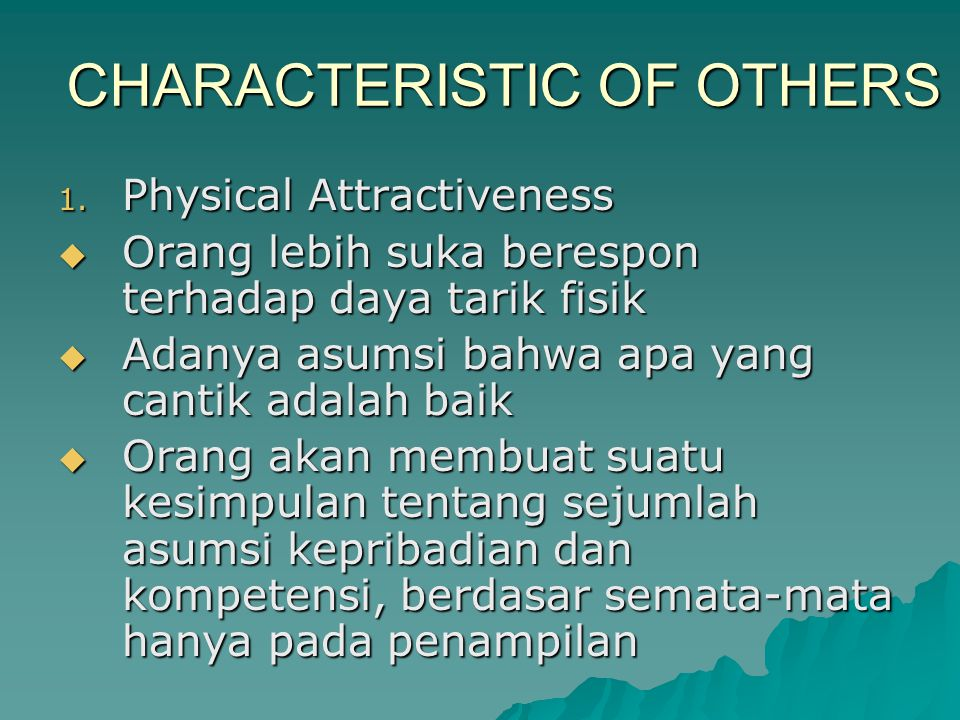 CHARACTERISTIC OF OTHERS 1.