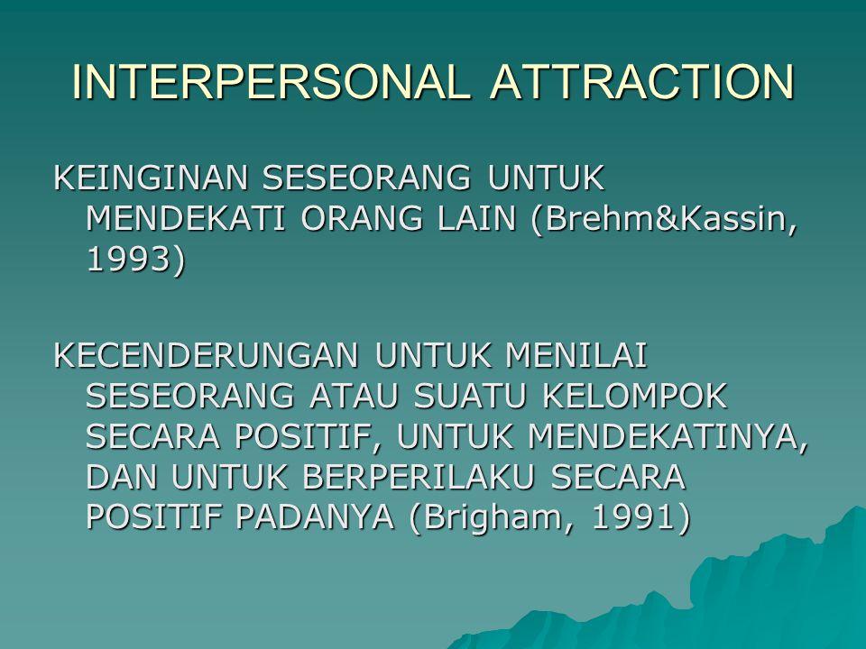INTERPERSONAL ATTRACTION KEINGINAN SESEORANG UNTUK MENDEKATI ORANG LAIN (Brehm&Kassin, 1993) KECENDERUNGAN UNTUK MENILAI SESEORANG ATAU SUATU KELOMPOK