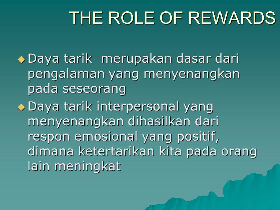 THE ROLE OF REWARDS  Daya tarik merupakan dasar dari pengalaman yang menyenangkan pada seseorang  Daya tarik interpersonal yang menyenangkan dihasil