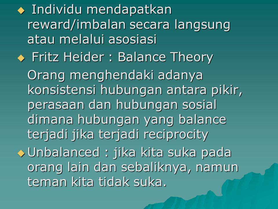  Individu mendapatkan reward/imbalan secara langsung atau melalui asosiasi  Fritz Heider : Balance Theory Orang menghendaki adanya konsistensi hubun