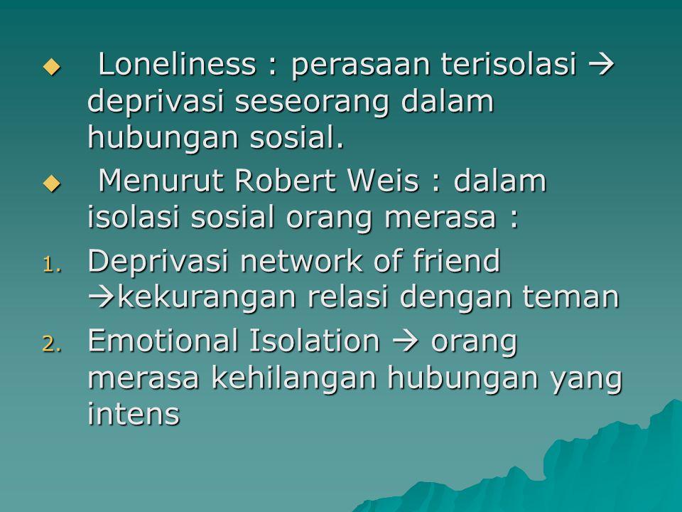 Loneliness : perasaan terisolasi  deprivasi seseorang dalam hubungan sosial.  Menurut Robert Weis : dalam isolasi sosial orang merasa : 1. Depriva