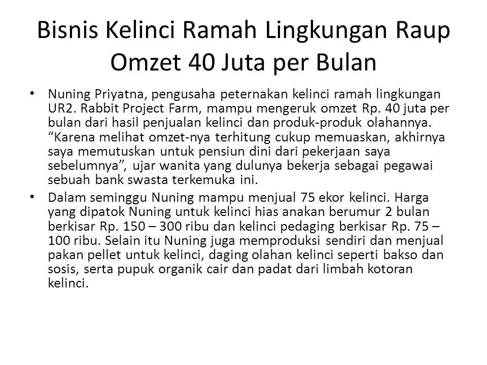 Bisnis Kelinci Ramah Lingkungan Raup Omzet 40 Juta per Bulan Nuning Priyatna, pengusaha peternakan kelinci ramah lingkungan UR2. Rabbit Project Farm,