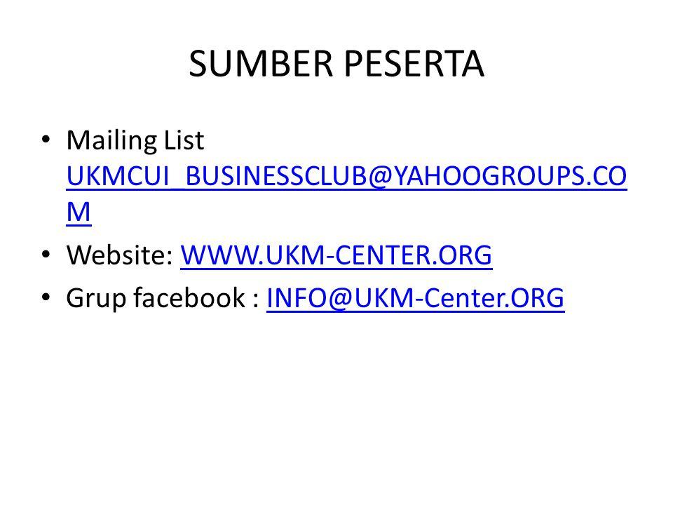 SUMBER PESERTA Mailing List UKMCUI_BUSINESSCLUB@YAHOOGROUPS.CO M UKMCUI_BUSINESSCLUB@YAHOOGROUPS.CO M Website: WWW.UKM-CENTER.ORGWWW.UKM-CENTER.ORG Gr