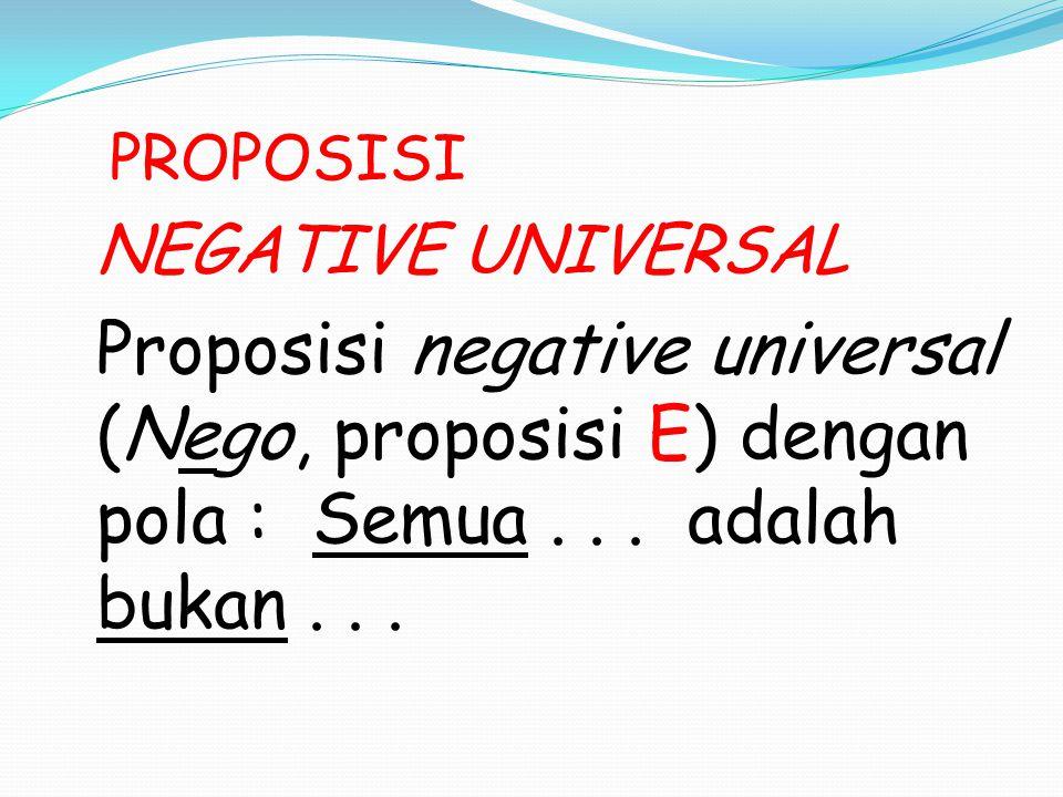 PROPOSISI NEGATIVE UNIVERSAL Proposisi negative universal (Nego, proposisi E) dengan pola : Semua... adalah bukan...