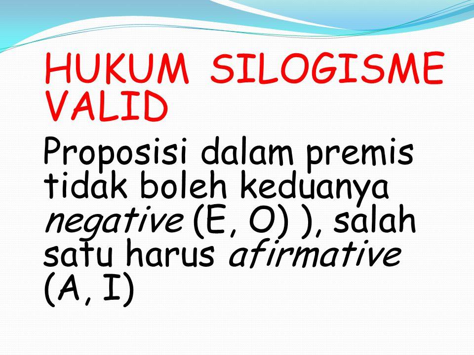 HUKUM SILOGISME VALID Proposisi dalam premis tidak boleh keduanya negative (E, O) ), salah satu harus afirmative (A, I)