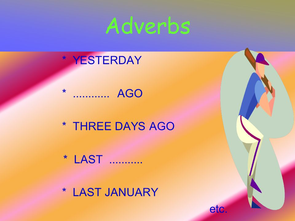 Adverbs * YESTERDAY *............ AGO * THREE DAYS AGO * LAST........... * LAST JANUARY etc.