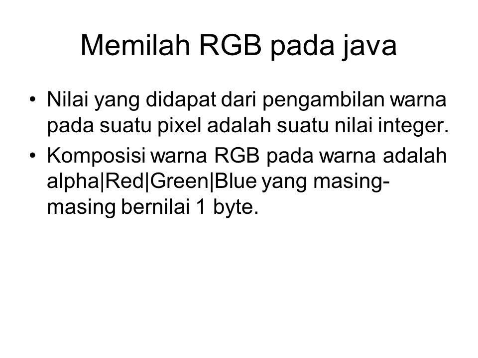 Memilah RGB pada java Nilai yang didapat dari pengambilan warna pada suatu pixel adalah suatu nilai integer. Komposisi warna RGB pada warna adalah alp