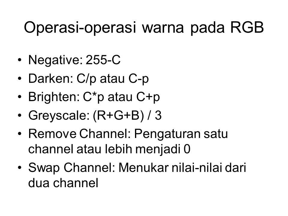 Operasi-operasi warna pada RGB Negative: 255-C Darken: C/p atau C-p Brighten: C*p atau C+p Greyscale: (R+G+B) / 3 Remove Channel: Pengaturan satu chan