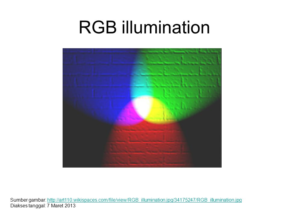 RGB illumination Sumber gambar: http://art110.wikispaces.com/file/view/RGB_illumination.jpg/34175247/RGB_illumination.jpghttp://art110.wikispaces.com/