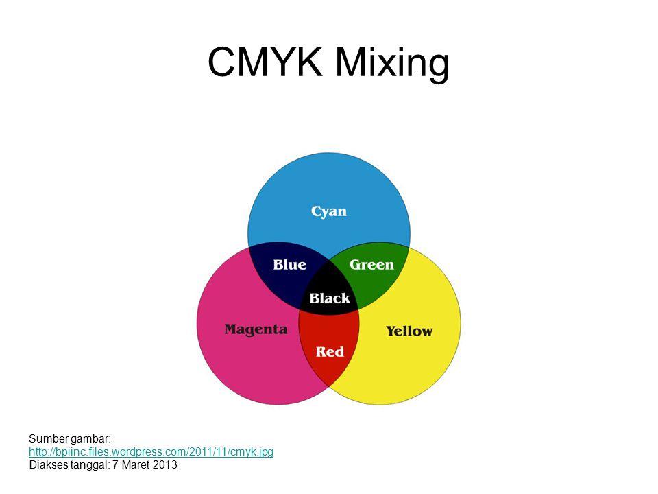 CMYK Mixing Sumber gambar: http://bpiinc.files.wordpress.com/2011/11/cmyk.jpg Diakses tanggal: 7 Maret 2013