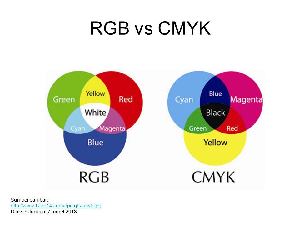 RGB vs CMYK Sumber gambar: http://www.12on14.com/dpi/rgb-cmyk.jpg Diakses tanggal 7 maret 2013