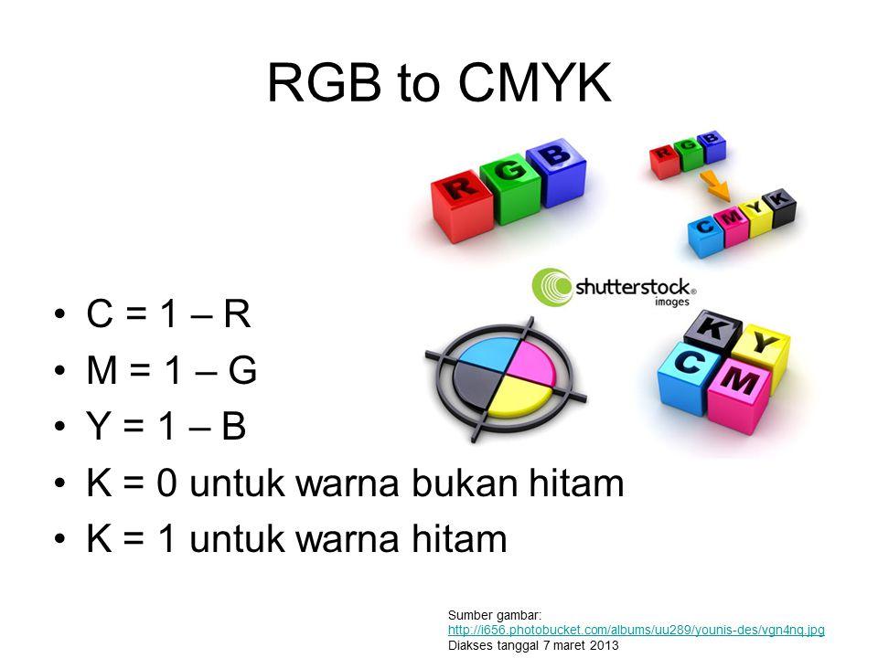 RGB to CMYK C = 1 – R M = 1 – G Y = 1 – B K = 0 untuk warna bukan hitam K = 1 untuk warna hitam Sumber gambar: http://i656.photobucket.com/albums/uu28
