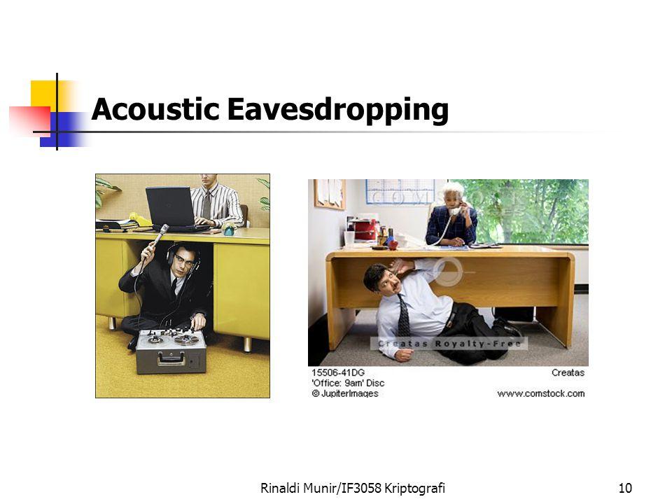 Acoustic Eavesdropping Rinaldi Munir/IF3058 Kriptografi10