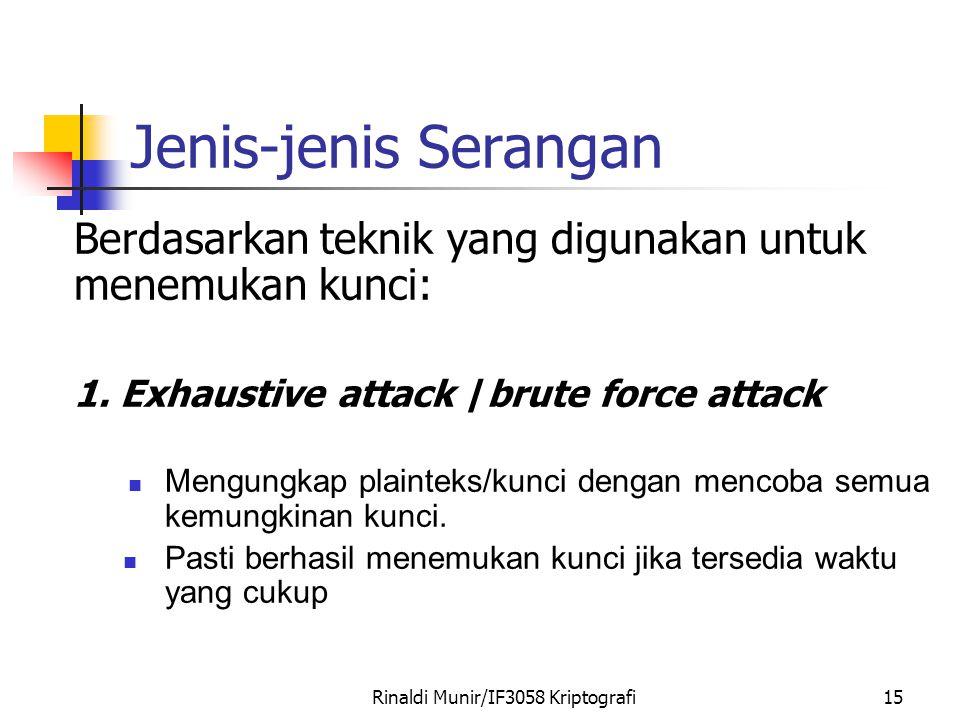 Rinaldi Munir/IF3058 Kriptografi15 Jenis-jenis Serangan Berdasarkan teknik yang digunakan untuk menemukan kunci: 1. Exhaustive attack /brute force att