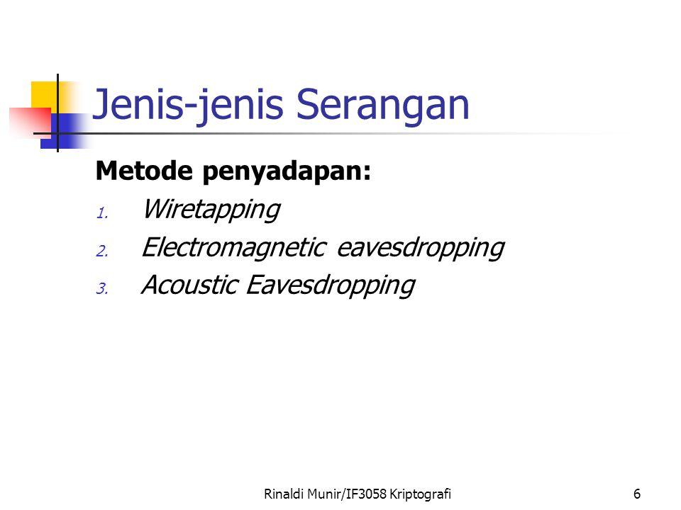 Rinaldi Munir/IF3058 Kriptografi6 Jenis-jenis Serangan Metode penyadapan: 1. Wiretapping 2. Electromagnetic eavesdropping 3. Acoustic Eavesdropping