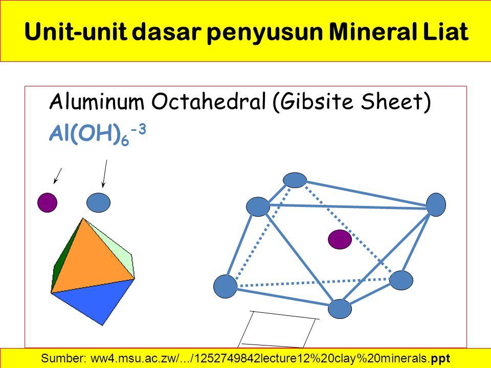 Aluminum Octahedral (Gibsite Sheet) Al(OH) 6 -3 Sumber: ww4.msu.ac.zw/.../1252749842lecture12%20clay%20minerals.ppt Unit-unit dasar penyusun Mineral