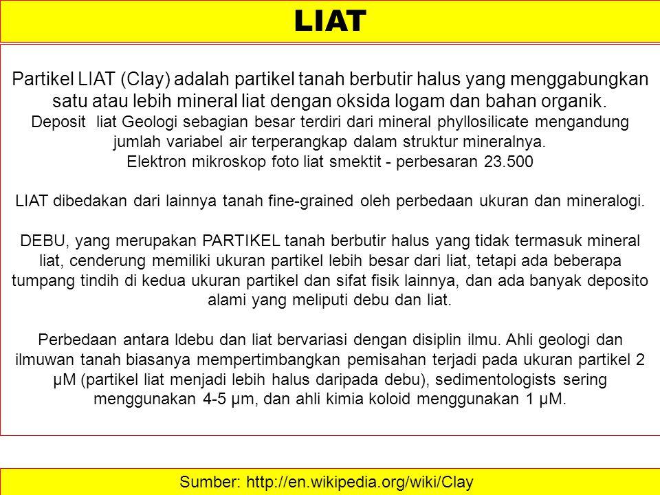 Sumber: http://en.wikipedia.org/wiki/Clay  LIAT Partikel LIAT (Clay) adalah partikel tanah berbutir halus yang menggabungkan satu atau lebih mineral