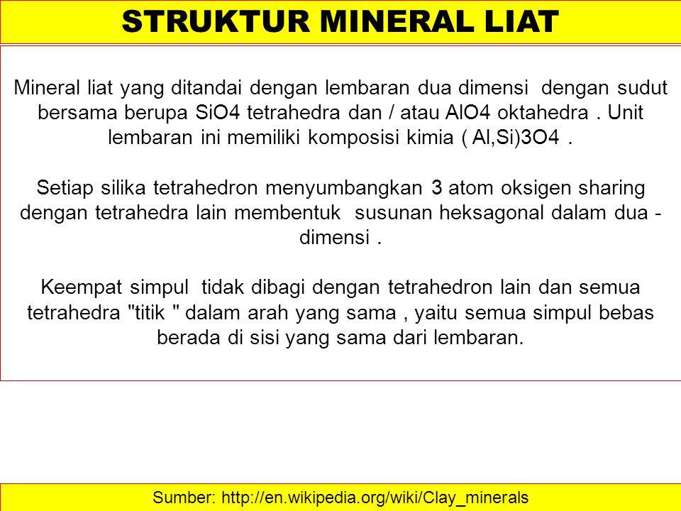 Sumber: http://en.wikipedia.org/wiki/Clay_minerals STRUKTUR MINERAL LIAT Mineral liat yang ditandai dengan lembaran dua dimensi dengan sudut bersama b
