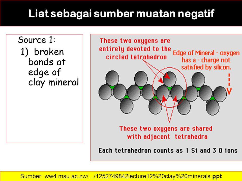 Liat sebagai sumber muatan negatif Source 1: 1) broken bonds at edge of clay mineral Sumber: ww4.msu.ac.zw/.../1252749842lecture12%20clay%20minerals.p
