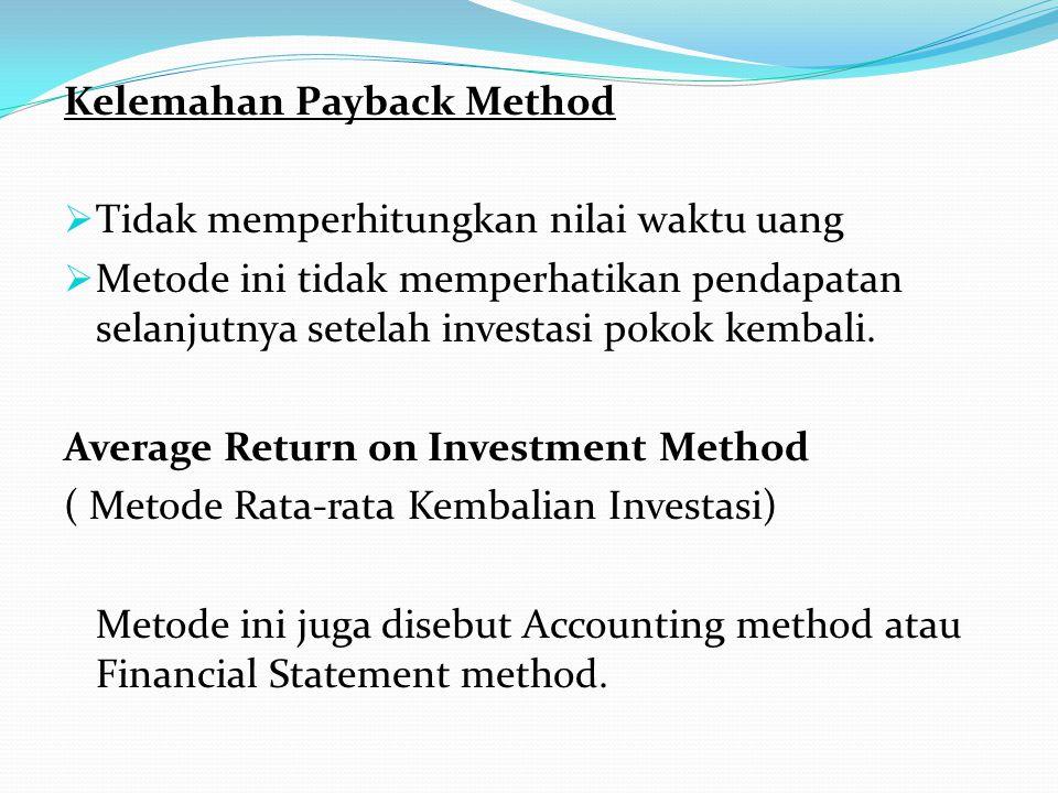 Kelemahan Payback Method  Tidak memperhitungkan nilai waktu uang  Metode ini tidak memperhatikan pendapatan selanjutnya setelah investasi pokok kemb