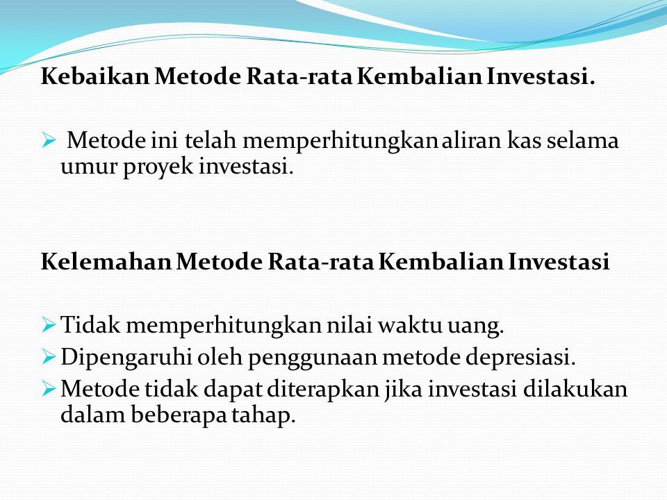 Kebaikan Metode Rata-rata Kembalian Investasi.  Metode ini telah memperhitungkan aliran kas selama umur proyek investasi. Kelemahan Metode Rata-rata