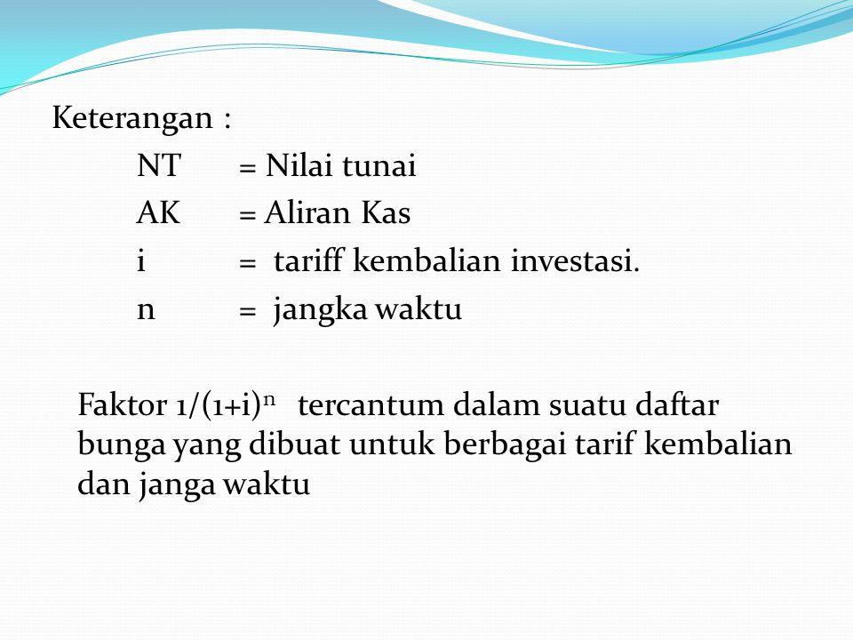 Keterangan : NT = Nilai tunai AK = Aliran Kas i = tariff kembalian investasi. n = jangka waktu Faktor 1/(1+i) n tercantum dalam suatu daftar bunga yan