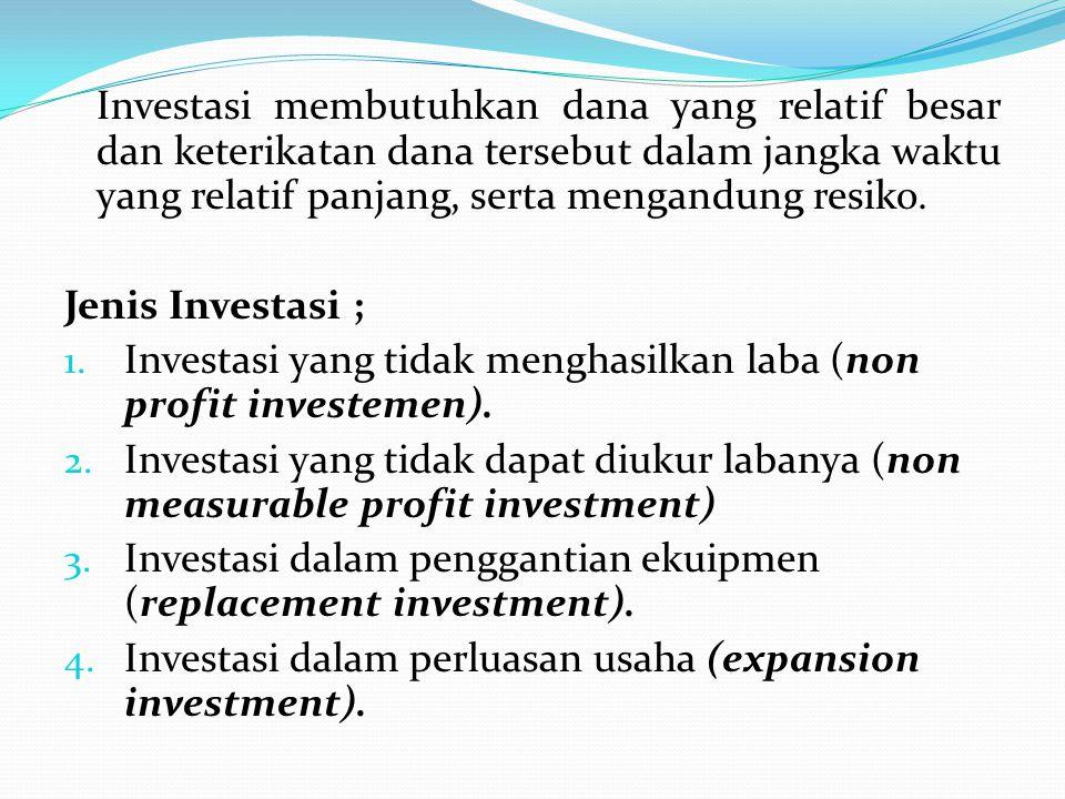 Investasi membutuhkan dana yang relatif besar dan keterikatan dana tersebut dalam jangka waktu yang relatif panjang, serta mengandung resiko. Jenis In