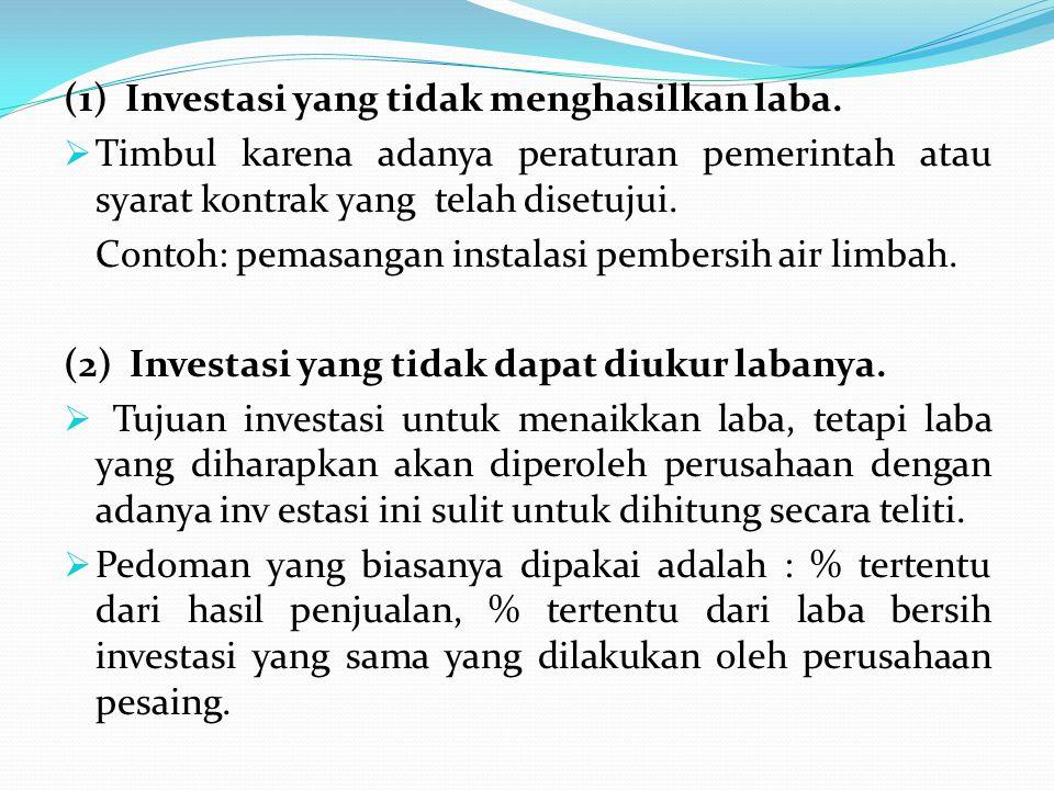 (1) Investasi yang tidak menghasilkan laba.  Timbul karena adanya peraturan pemerintah atau syarat kontrak yang telah disetujui. Contoh: pemasangan i