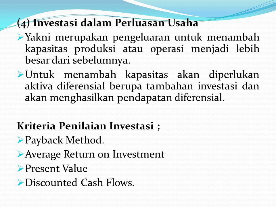 (4) Investasi dalam Perluasan Usaha  Yakni merupakan pengeluaran untuk menambah kapasitas produksi atau operasi menjadi lebih besar dari sebelumnya.