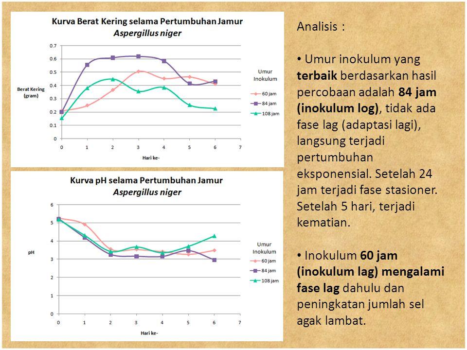 Analisis : Umur inokulum yang terbaik berdasarkan hasil percobaan adalah 84 jam (inokulum log), tidak ada fase lag (adaptasi lagi), langsung terjadi p