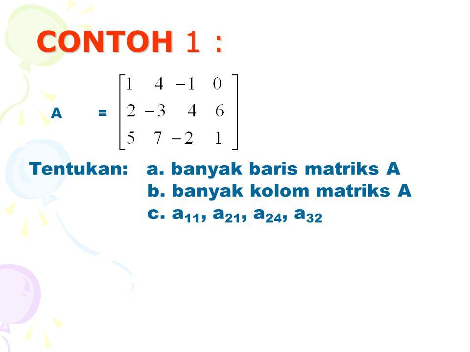 CONTOH 1 : A=A= Tentukan: a.banyak baris matriks A b.
