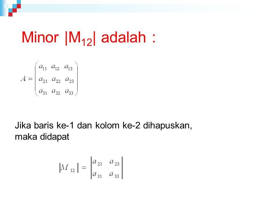 Minor |M 12 | adalah : Jika baris ke-1 dan kolom ke-2 dihapuskan, maka didapat