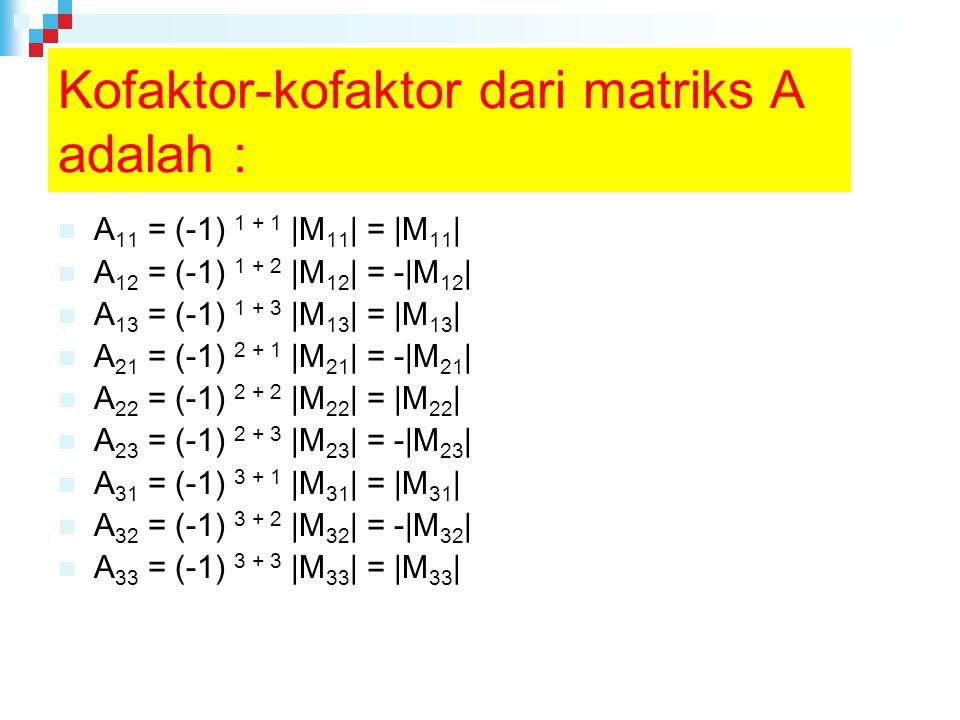 Kofaktor-kofaktor dari matriks A adalah : A 11 = (-1) 1 + 1 |M 11 | = |M 11 | A 12 = (-1) 1 + 2 |M 12 | = -|M 12 | A 13 = (-1) 1 + 3 |M 13 | = |M 13 | A 21 = (-1) 2 + 1 |M 21 | = -|M 21 | A 22 = (-1) 2 + 2 |M 22 | = |M 22 | A 23 = (-1) 2 + 3 |M 23 | = -|M 23 | A 31 = (-1) 3 + 1 |M 31 | = |M 31 | A 32 = (-1) 3 + 2 |M 32 | = -|M 32 | A 33 = (-1) 3 + 3 |M 33 | = |M 33 |