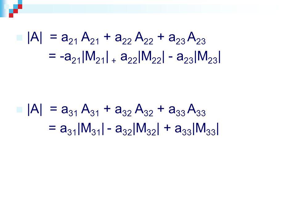|A| = a 21 A 21 + a 22 A 22 + a 23 A 23 = -a 21 |M 21 | + a 22 |M 22 | - a 23 |M 23 | |A| = a 31 A 31 + a 32 A 32 + a 33 A 33 = a 31 |M 31 | - a 32 |M 32 | + a 33 |M 33 |