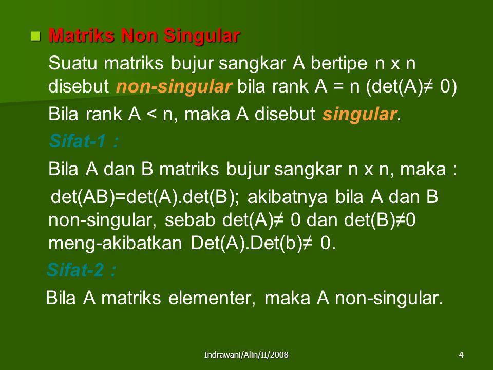 Indrawani/Alin/II/20085 Sifat-3 : Setiap matriks elementer mempunyai invers.